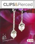 Delicate Long Pearl Earrings | Your choice: Pierced or Clips