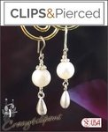 Dangling Pearl Earrings for Brides | Your choice:  Pierced or Clip on