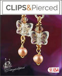 Easter: Pearl & Butterflies Earrings | Your choice: Pierced or Clips