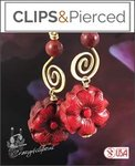 Bold & Spicy Red Cinnabar Floral Earrings | Your choice: Pierced or Clips