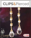 Bridal: Dangling Crystal Earrings | Your choice: Pierced or Clips