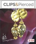 Halloween: Golden Doom Skull Earrings | Your choice: Pierced or Clips
